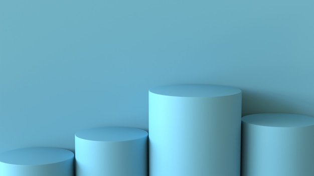 Empty pastel blue podium on blank wall background. 3d rendering. Premium Photo