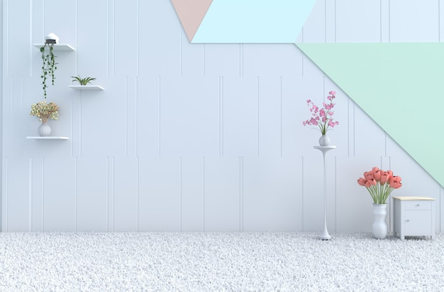 Empty pastel room decor pastel wall, orchid, tulip,carpet. christmas, new year. 3d render Premium Photo