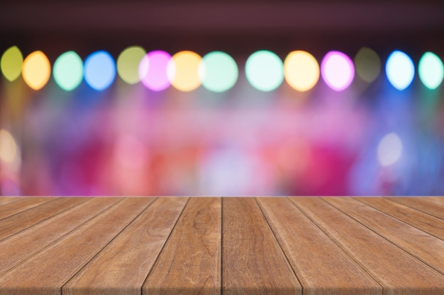 Empty perspective room with sparkling bokeh wall and wooden plank