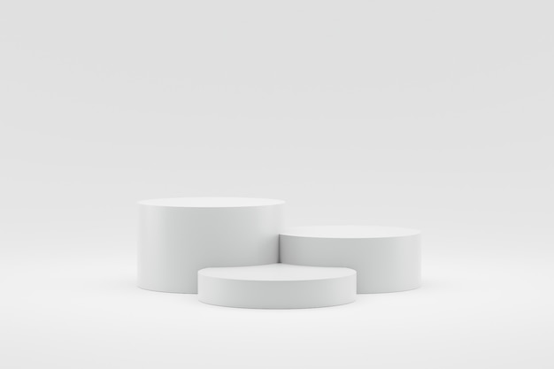 Empty podium or pedestal display on white background with cylinder stand concept. Premium Photo