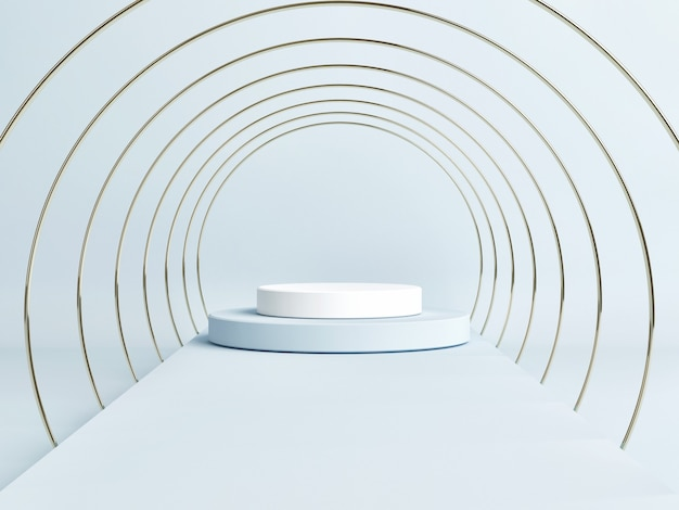 기하학적 모양, 파란색 배경, 3d 렌더링, 3d 일러스트와 함께 빈 연단 장면 프리미엄 사진