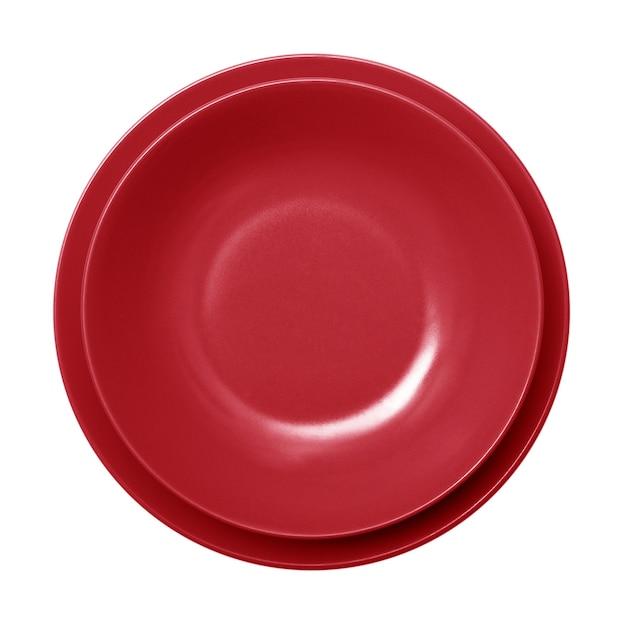 空の赤い皿 Premium写真