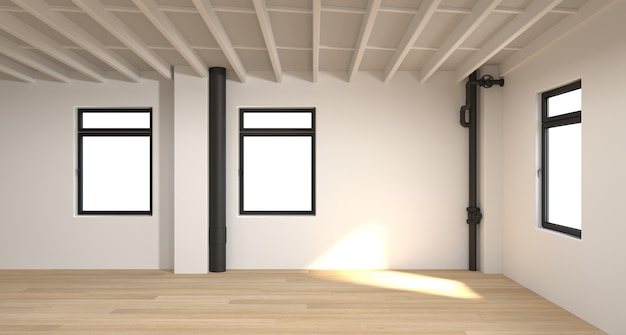 The empty room 3d rendering white room, interior background