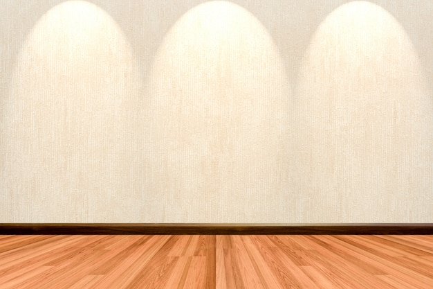 Empty room background with wooden floor cream or beige