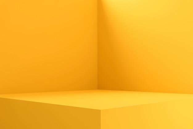 빈 방 인테리어 디자인 또는 빈 스탠드와 생생한 배경에 노란색 받침대 디스플레이. 3d 렌더링. 프리미엄 사진