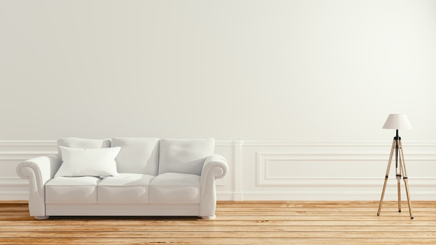 Empty room interior - scandinavian interior. 3d rendering Premium Photo