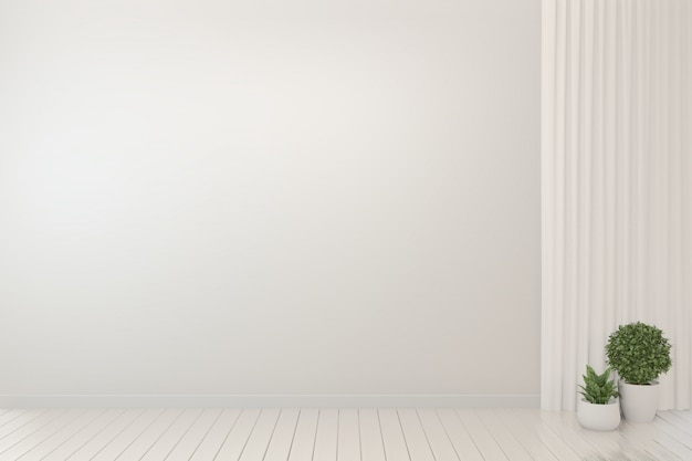 Empty room interior white background and plants  Photo