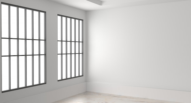 Premium Photo Empty Room Interior White Blank Wall And Window 3d Render