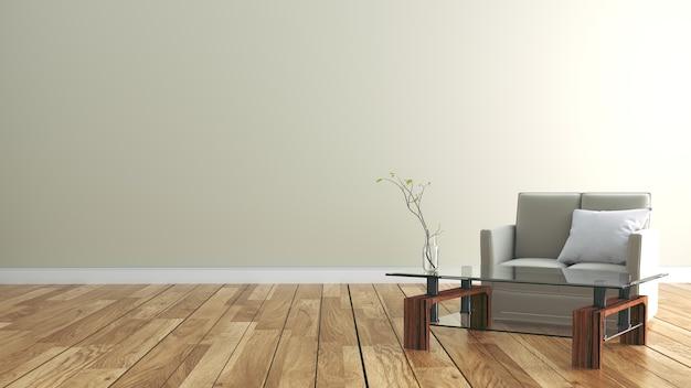 흰 벽 배경에 나무 바닥으로 빈 방 인테리어. 3d 렌더링 프리미엄 사진