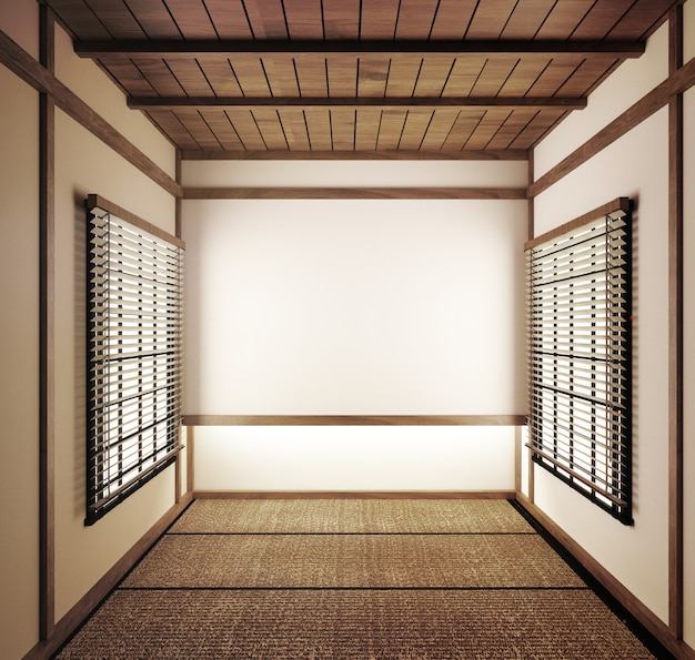 Empty room japanese tatami mats and paper sliding doors called shoji.3d rendering Premium Photo