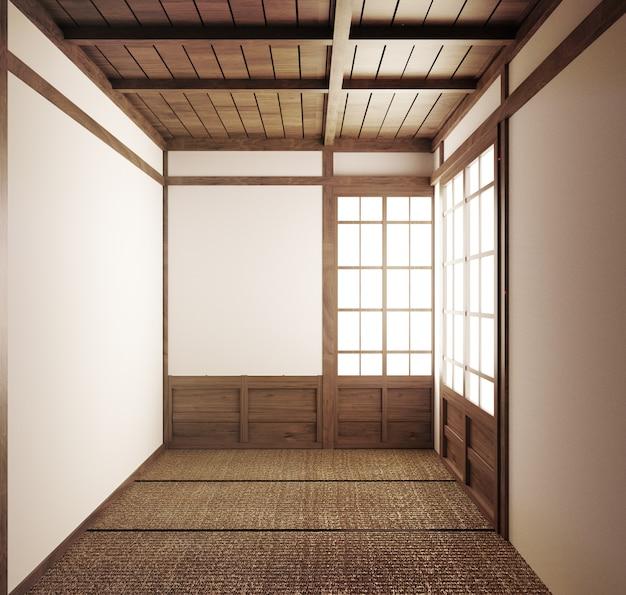 Empty room japanese tatami mats and paper sliding doors called shoji.3d rendering Premium Photo