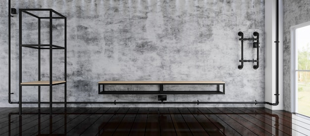 Empty room with big window in loft style. 3d render. Premium Photo