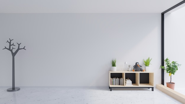 In the empty room with cabinets is a lot of decorations Premium Photo