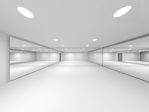 Пустая комната с дверью и зеркальным стеклом, 3d-рендеринг Premium Фотографии