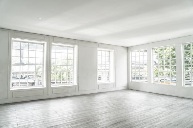 Empty room with glass window Premium Photo