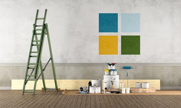 塗装設備のある空の部屋 Premium写真