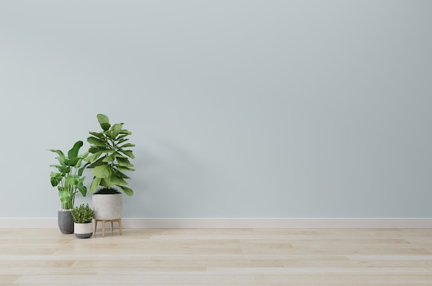 Empty room with plants mockup have wooden floor,3d rendering Premium Photo