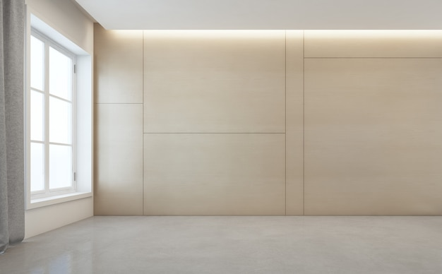 Empty room with white concrete floor and wooden wall in modern house. Premium Photo