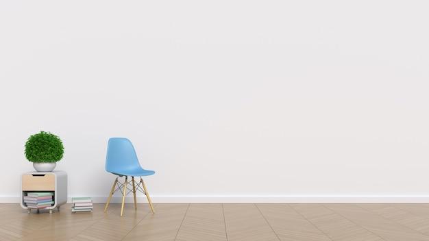 흰 벽과 의자 빈 방 프리미엄 사진