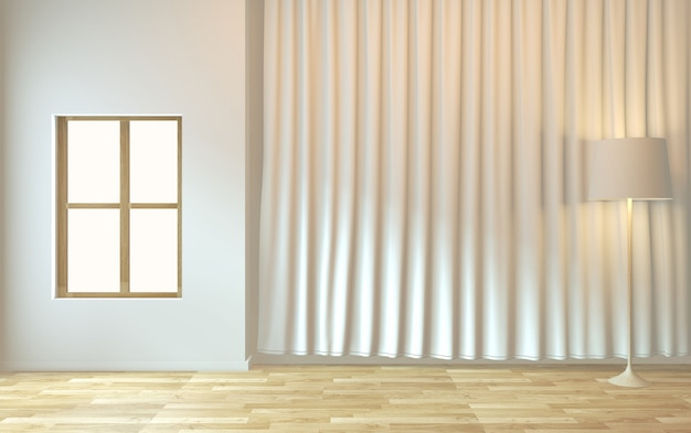 Empty room zen minimal design.3d rendering Premium Photo