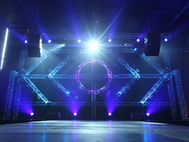 Empty runway fashion show catwalk with moving beam lighting Premium Photo