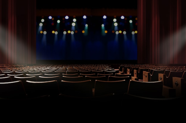 Empty seat in vintage auditorium or theater with lights on stage. Premium Photo