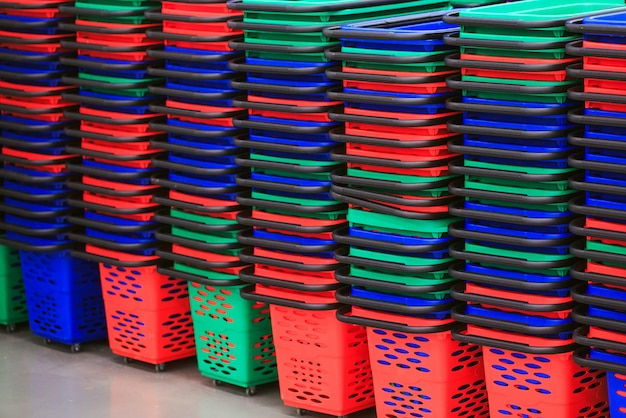 Empty shopping baskets. Premium Photo