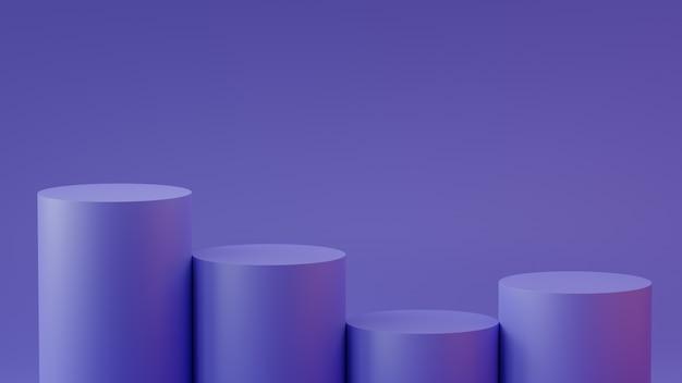 Empty steps cylinder podium on empty background. 3d rendering. Premium Photo