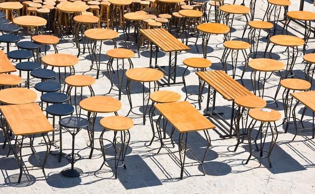 Empty street cafe in the morning, budva, montenegro Premium Photo