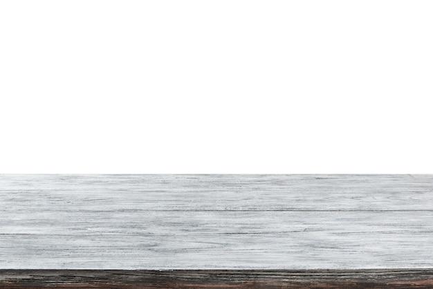 밝은 회색 나무 테이블의 빈 표면-디스플레이 쇼핑몰 흰색 배경의 저장소 및 제품을 몽타주. 초점 스택을 사용하여 전체 심도를 생성했습니다. 프리미엄 사진