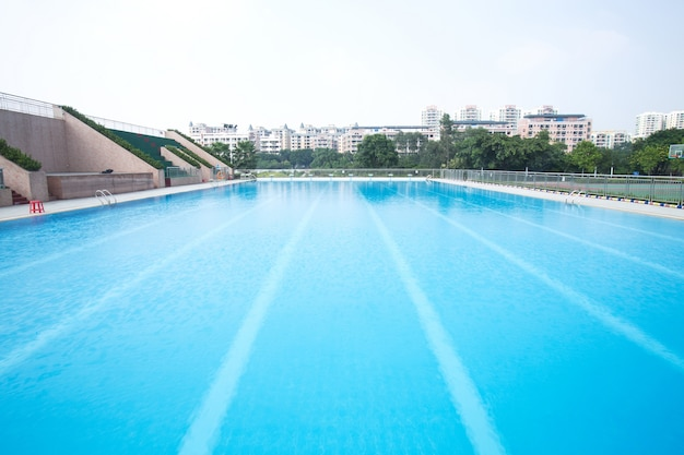 Empty swimming pool with lane lines Photo | Free Download