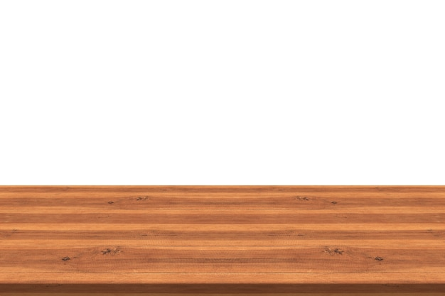 Empty Teak Wood Table Top On White Background,space Montage You Product  Premium Photo