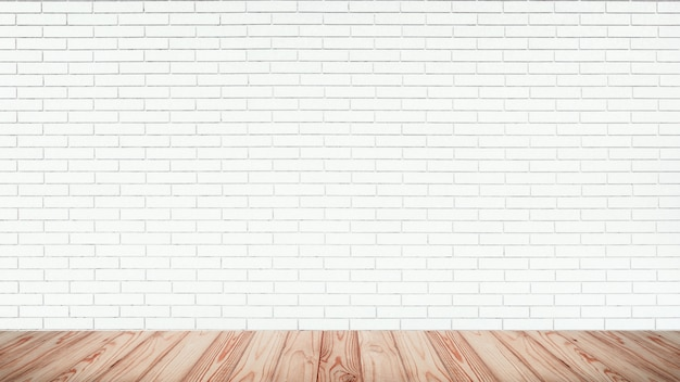 Premium Photo Empty Top Of Wood Floor With White Brick Wall Background