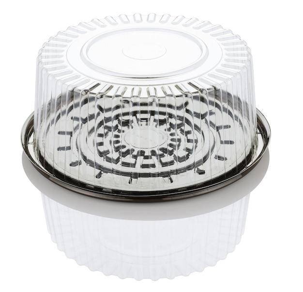 空の透明なプラスチック製のケーキボックスは、クリッピングパスと白い背景で隔離 Premium写真