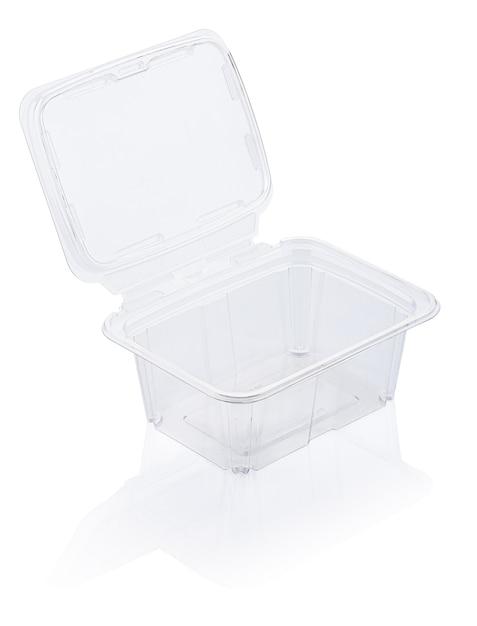 空の透明なプラスチック製食品容器は、クリッピングパスで白で隔離 Premium写真