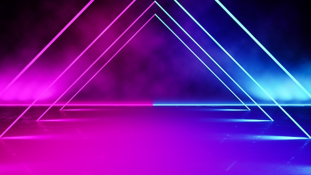Empty triangle shaped neon light with smoke Premium Photo