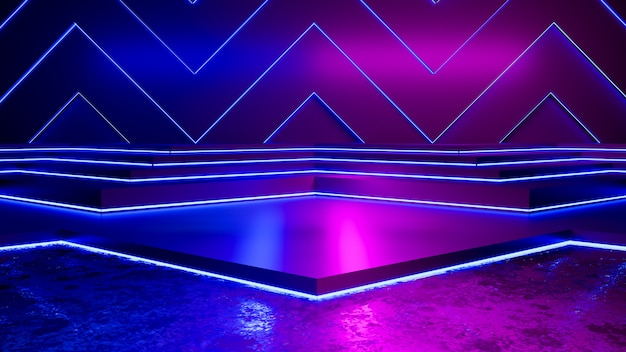 Empty triangle shaped and purple neon light Premium Photo