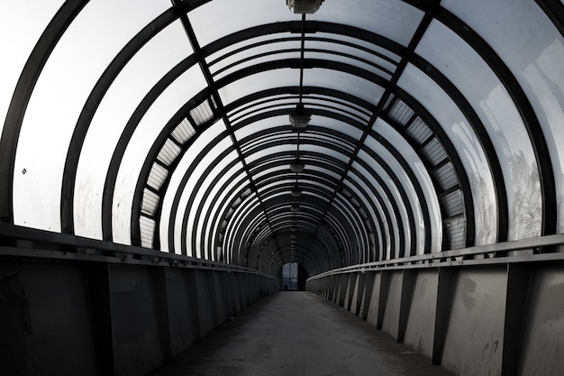 Empty tunnel, pedestrian crossing, a city architecture concept Premium Photo