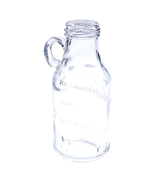Empty vintage mason jar on white background Premium Photo