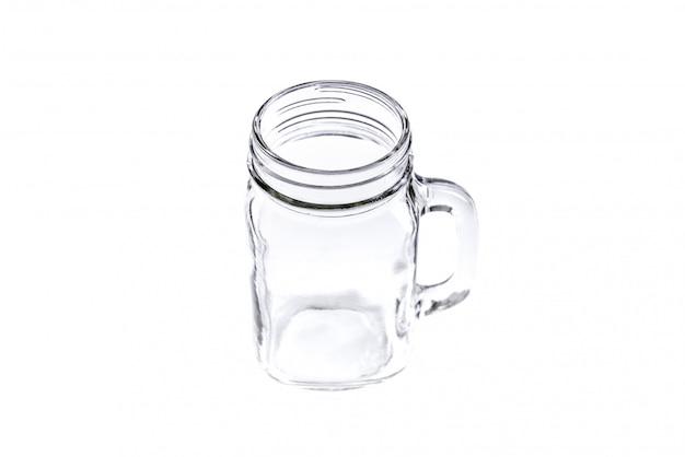 Empty vintage mason jar on white background Premium Photo
