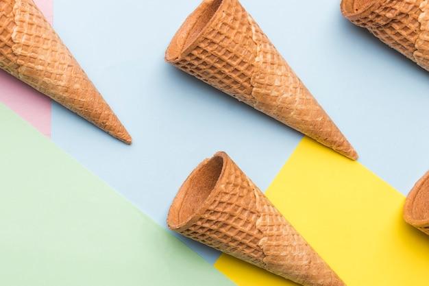 Empty wafer style crispy cones Free Photo