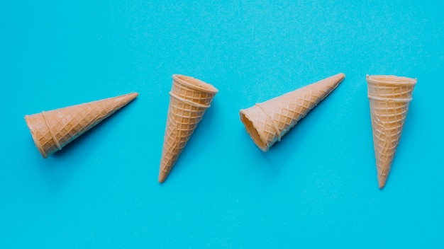 Empty waffle cones on table Free Photo