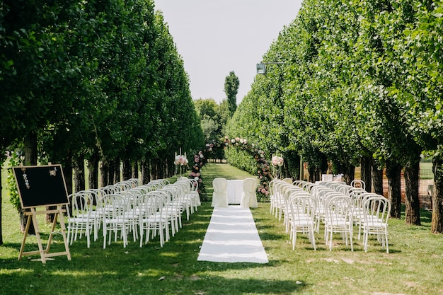 Пустой проход для свадебной церемонии с ковром, круглой аркой и рядами стульев Premium Фотографии
