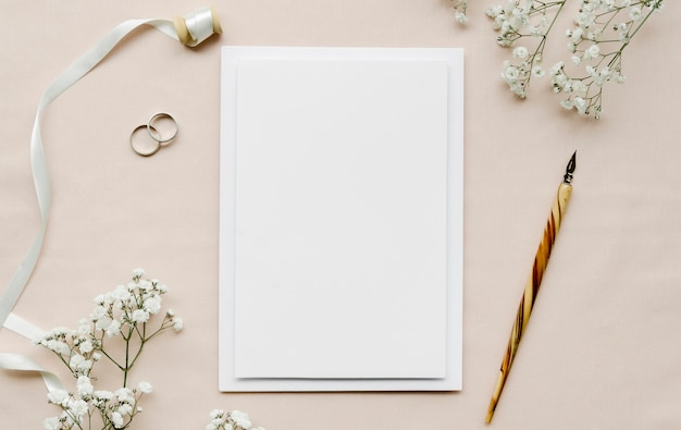 Free Photo | Empty wedding invitation flat lay