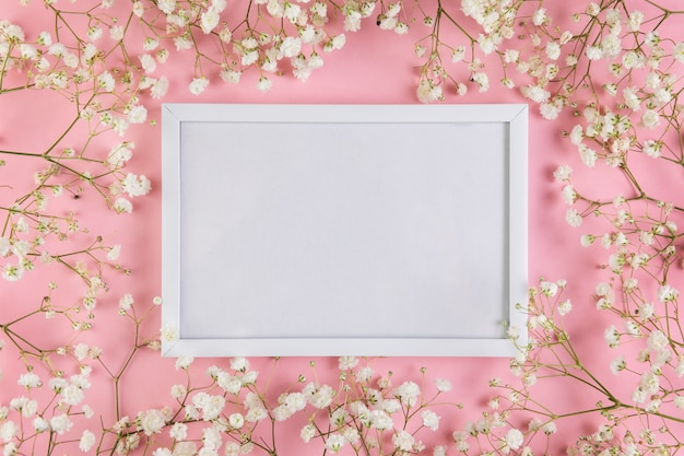 An empty white blank frame surrounded with white baby's breath flowers against pink background Free Photo