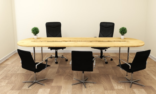 Empty white conference room interior with wood floor on white wall background. Premium Photo