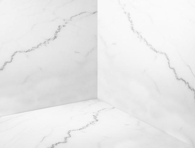 Empty white glossy marble corner room background Premium Photo
