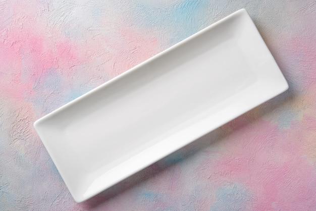 Empty white long rectangular plate Premium Photo