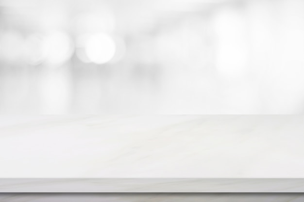 Empty White Marble Over Blur Store Background Product And