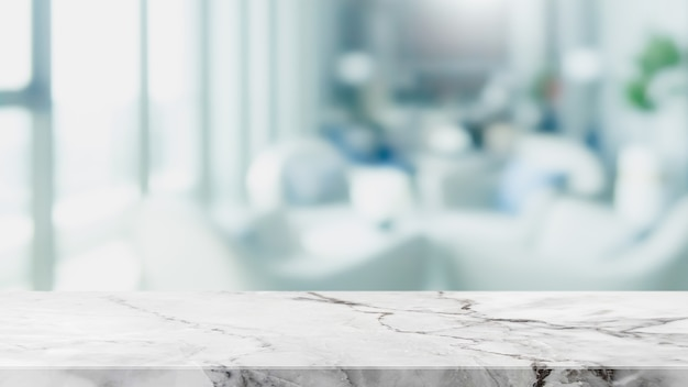 Empty white marble stone table top and blur glass window interior restaurant banner abstract background - can used for display or montage your products. Premium Photo